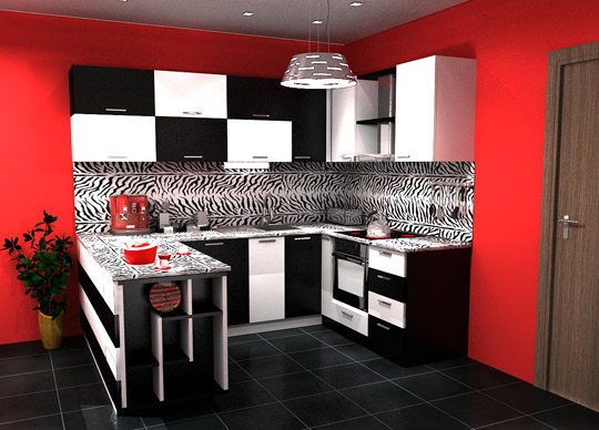 black and white tile kitchen floor. white-cabinets-lack-tiles